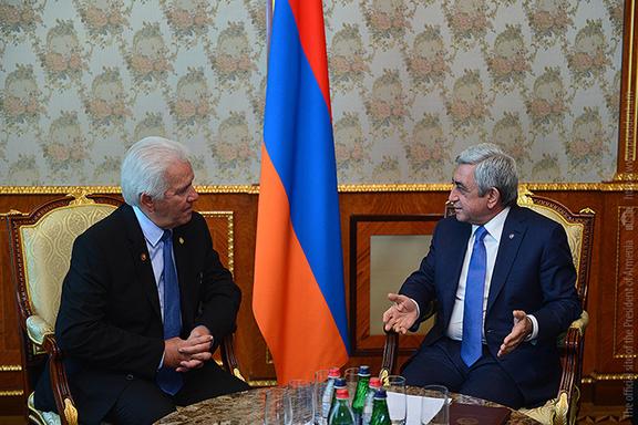 President Serzh Sarkisian meets with U.S. Congressman Jim Costa in Yerevan on Friday, July 21. (Photo: President.am)