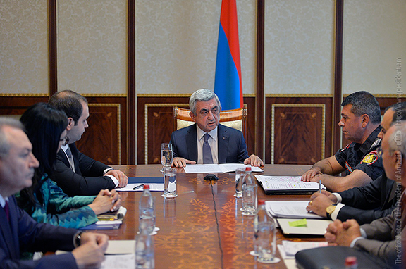 President Serzh Sarkisian during a meeting in Yerevan on Friday, July 22. (Photo: President.am)