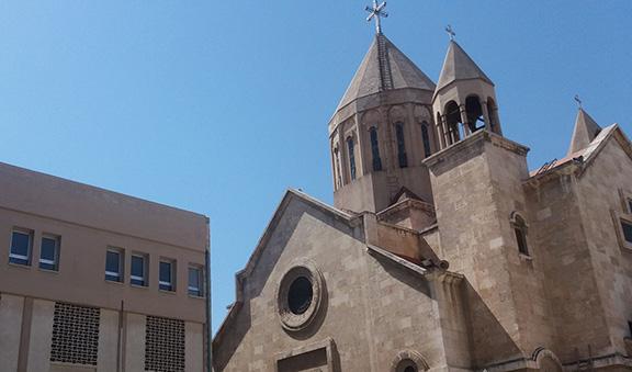 A rocket fired near St. Asdvadzadzin Church in Aleppo. (Photo: Grtasirats Facebook Page)