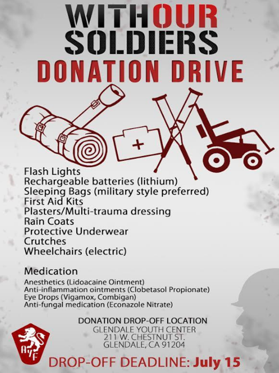 The WOS task force urges the community to make monetary contributions and donations of goods to the campaign.