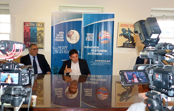 Development Foundation of Armenia (DFA)'s Garen Mikirditsian (right) discussing U.S. – Armenia investment opportunities during a July 13th roundtable, moderated by the ANCA's Aram Hamparian (left).