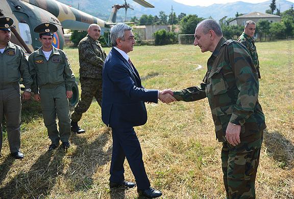 Artsakh President Bako Sahakian greets President Serzh Sarkiasian when he arrived in Stepanakert in June