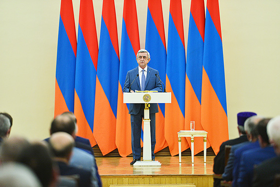 President Serzh Sarkisian addresses the two-week standoff in Armenia