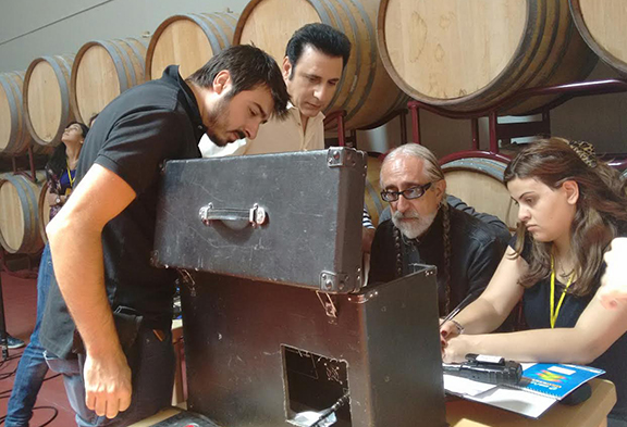 The two directors Vahe and Vahik with the director of photography Gev and script supervisor Angie.