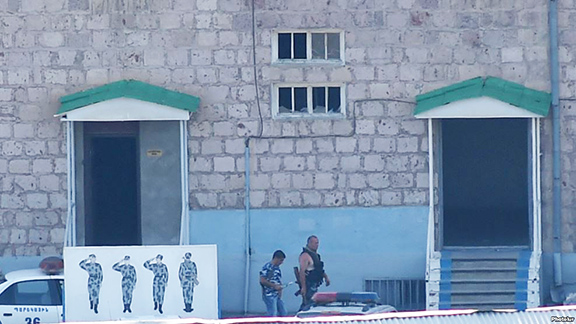 """The police compound that was seized by """"Daredevils of Sasoun"""" ans scene of the two-week standoff"""