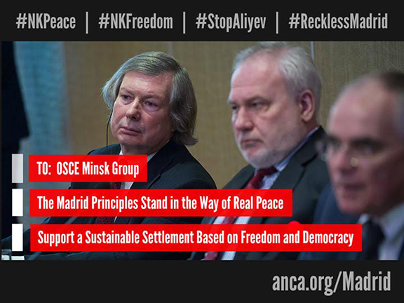 """ANCA grassroots campaign – anca.org/madrid – calls for a rejection of the flawed """"Madrid Principles"""" and outlines key policy priorities for Karabakh peace and freedom."""