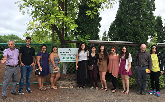 Executive Director Jeanmarie Papelian (right) and Nursery Manager Samvel Ghandilyan (left) hosted interns from the AYF-YOARF and forestry expert Chris Fox at the ATP nursery in Karin Village (Photo: Armenia Tree Project)
