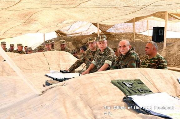 Bako Sahakian and Armenian officials visit south-eastern border of Artsakh (Photo: president.nkr.am)