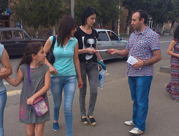 A Bright Armenia campaigner in Vanadzor.