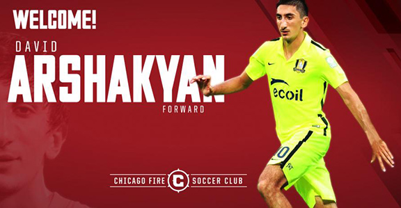 Armenian soccer player David Arshakyan has signed a two-year contract with Chicago Fire on Wednesday, August 3, 2016.