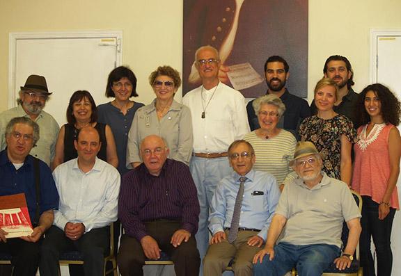 The Lark Board with Mr. Karabian First row: (from left) Vastche Barsoumian, Andy Torosyan (Board Chairman), Walter Karabian, Nazareth Darakjian, Onnik Keshishian; Second row:  Dikran Babikian, Arpi Barsoumian, Hilda Fidanian, Kristine Keshishian, Haykuhie Torosyan, Shoushik  Barsoumian; Third row: Glady Bagdasarian, Hovsep Fidanian, Shahe Barsoumian, Ashot Kartalyan.