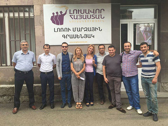 Members of the Bright Armenia (Lousavor Hayastan) Party, focused on organizing from the bottom-up and fielding candidates in local races.