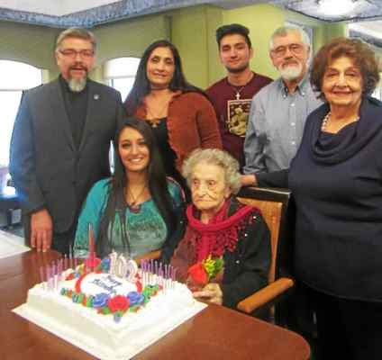 Ramela Carman's family and friends honor her on her 102nd birthday in April 2016 (Photo: Anne Runkle)