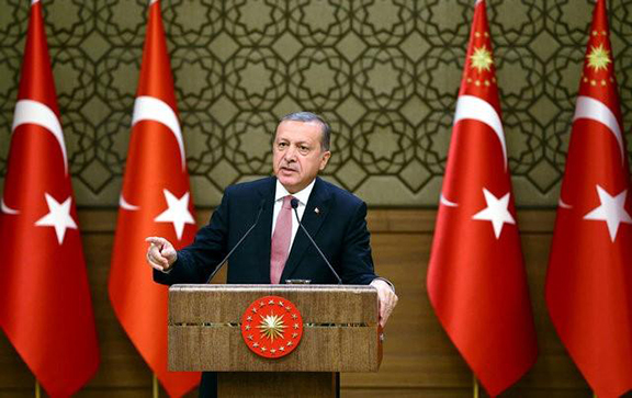 Turkish President Erdogan addresses the audience during a meeting at the Presidential Palace in Ankara, Turkey, August 2, 2016. Kayhan Ozer/Presidential Palace/Reuters)