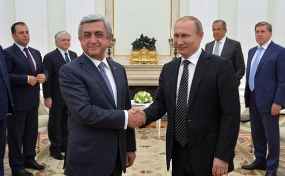 President Serzh Sarkisian meet with his Russian counterpart Vladimir Putin at the Kremlin on Wednesday