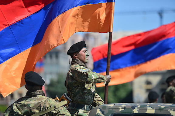 An Armenian soldier during Wednesday's military parade in Yerevan