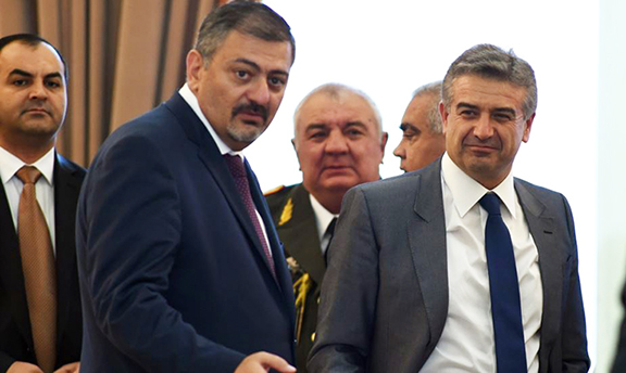 Prime Minister Karen Karapetyan (right) with Deputy Prime Minister Vache Gabrielian on Tuesday
