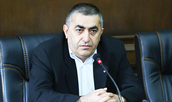 Leader of ARF's parliamentary faction and a member of the party's Bureau Armen Rustamian during a press conference on Sept. 16