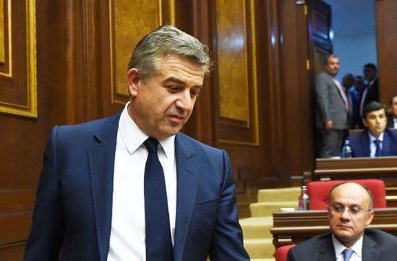Armenia's new prime minister Karan Karapetyan at the parliament on Wednesday