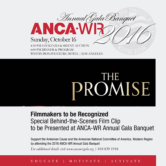 """""""The Promise"""" filmmakers will be recognized at ANCA-WR Gala"""