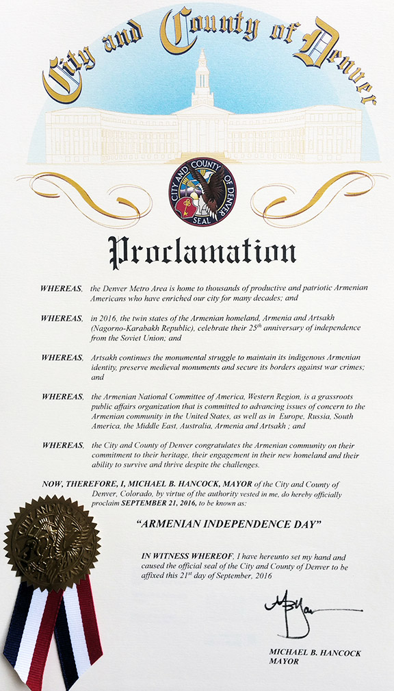 City of Denver proclamation on Armenia's Indepemdemce