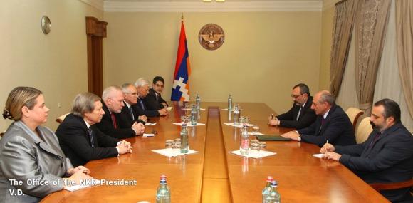 President Bako Sahakyan meeting with OSCE Minsk Group Co-Chairs in Stepanakert on Oct. 24, 2016. (Photo: president.nkr.am)