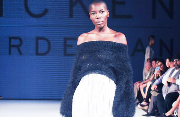 One of Derderian's creation on the runway at LA Fashion Week