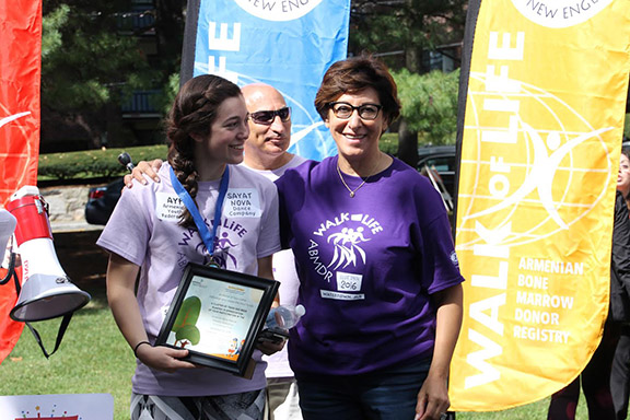 Nairi Krafian, who raised the most funds as an individual walk participant; Jack Antounian; and Dr. Frieda Jordan.