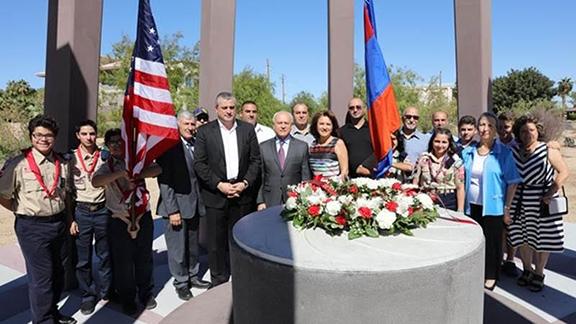 Ambassador Hovhannissian visiting the Armenian Genocide Memorial Monument at Sunset Park