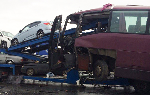 Bus involved in the accident (Source: ArmRadio)