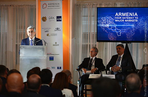 Sarkisian at the 'Armenia: Investment Forum-2016'  in New York on October 11, 2016 (Photo: president.am)