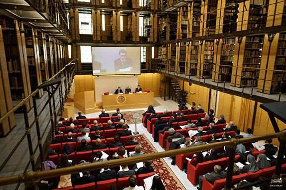 "Armenian Ambassador to Vatican Mikayel Minasyan addressing the ""Damascus: Prism of Hope"" in Rome"