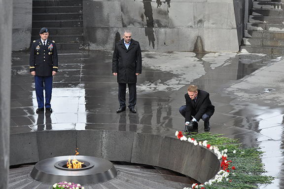 Carpenter paying respect to the victims of the Armenian Genocide at the Tsitsernakabert Memorial Complex