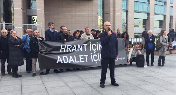 """""""Friends of Hrant Dink"""" making a statement ahead of the trial against the law enforcement accused of Hrant Dink's murder. (Photo: Agos)"""