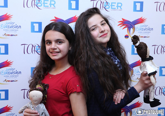 Anahit Adamyan (left) and Mary Vardanyan represented Armenia in the 2016 Junior Eurovision Song Contest (Source: ArmRadio)