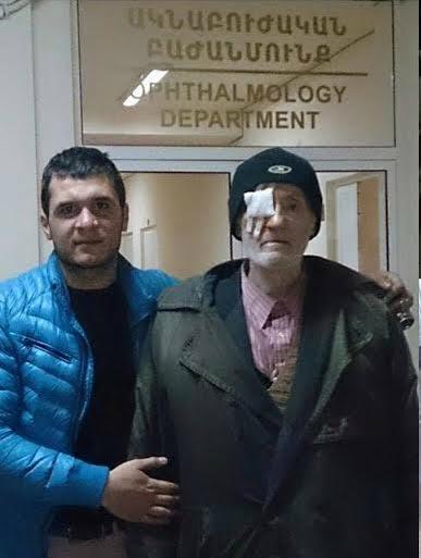 Khenkoyan with elderly man in the Grigor Lusavorich hospital in Armenia