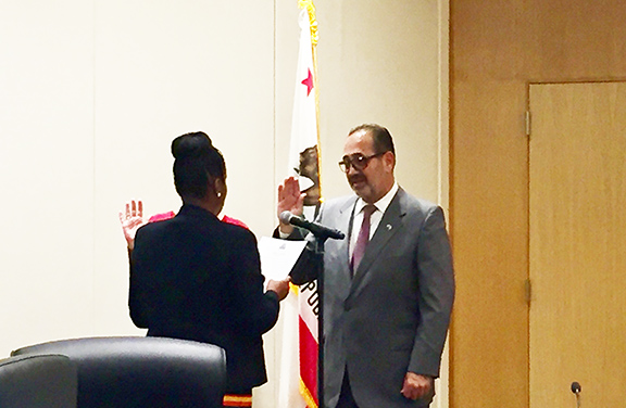 Marty Simonoff  takes his oath of office