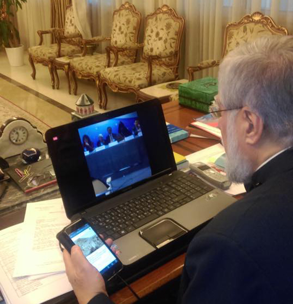 Aram I Catholicos of the Armenian Church, Holy See of Cilicia following the livestream of the press conference in Brussels on Dec. 7, 2016 (Photo: Cilicia TV)