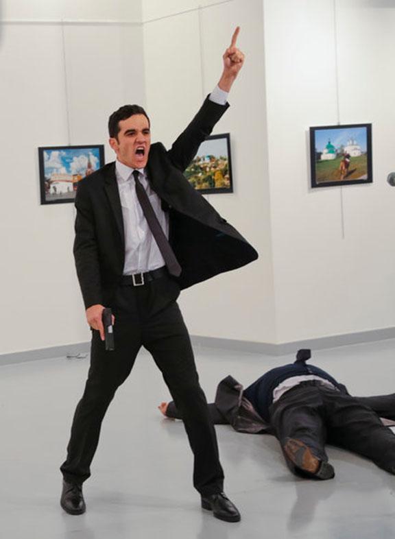 The gunman at the Ankara gallery (AP photo)