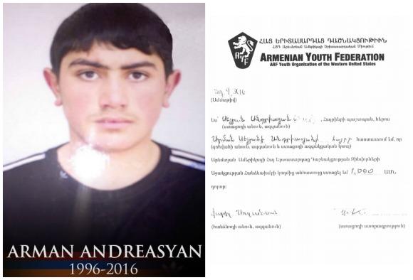 Arman Andreasyan, fallen soldier
