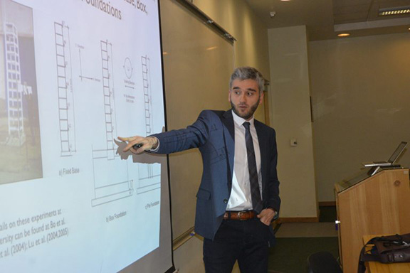 Dr. Armen DerKevorkian presenting at the American University of Armenia (Photo: AUA)