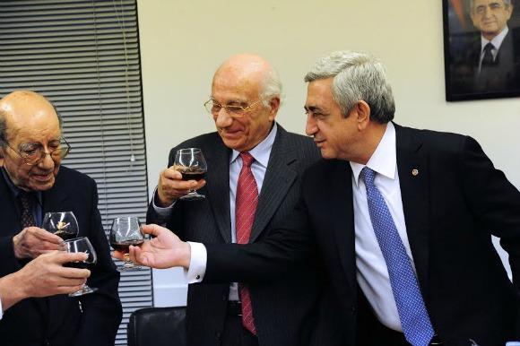 From left, Dr. Nubar Berberian, with Dr. Arshavir Gundjian and President Serzh Sargsyan of the Republic of Armenia at the Baikar Building in March 2016 (Photo: Jirair Hovsepian)