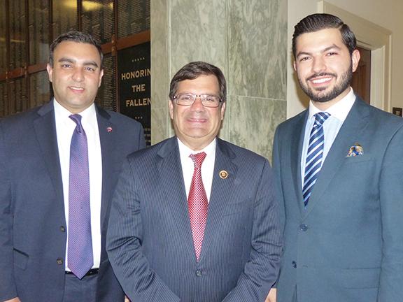 Rep. Gus Bilirakis (R-FL) with ANCA Government Affairs Director Raffi Karakashian and ANCA Eastern Region Board Member Armen Sahakyan at the 2016 Capitol Hill commemoration of the Armenian Genocide.