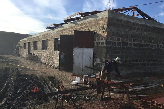 Construction is in the works of a buckwheat factory in Bavra, Sirak Region, Armenia