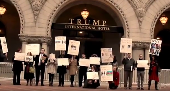 A protest organized by human rights group Freedom Now was held outside a Hannakuh party hosted by Ilham Aliyev's Azerbaijani regime at Trump International Hotel on Dec. 14, 2016 (Photo: Video Screenshot)