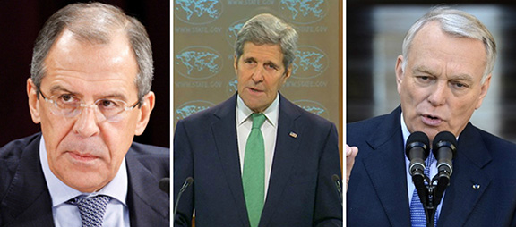 (From left to right) Russian Foreign Minister Sergey Lavrov, U.S. Secretary of State John Kerry, and French Foreign Minister Jean-Marc Ayrault