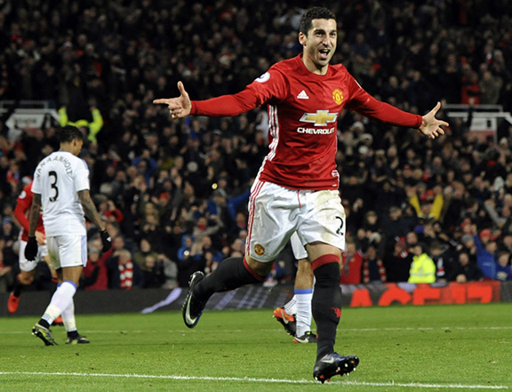 Mkhitaryan celebrating after scoring his side's third goal during a match between Manchester United and Sunderland on Dec. 26, 2016. (Photo: Rui Vieira/Associated Press)