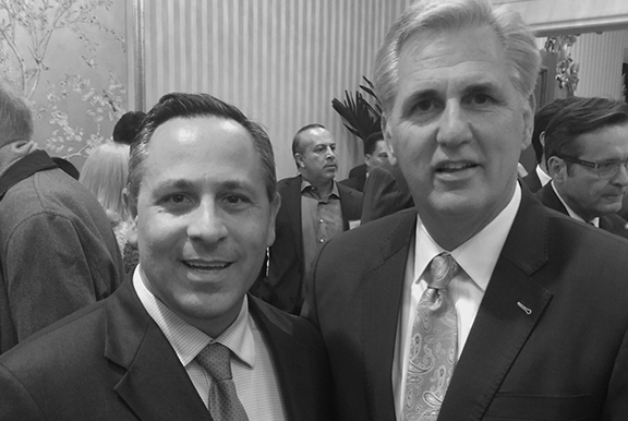 House Majority Leader Kevin McCarthy (R-CA) and ANCA Chairman Raffi Hamparian discussing Armenian American concerns.