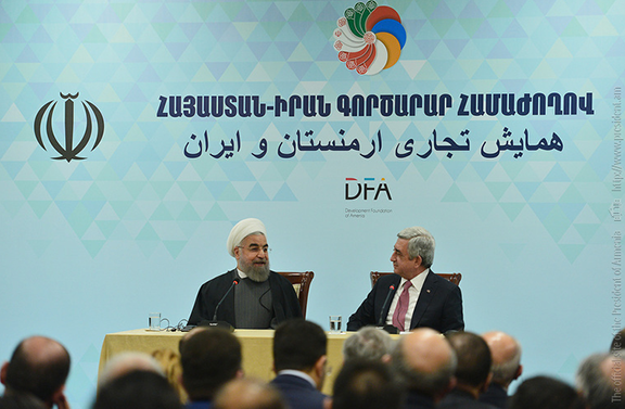 President Sarkisian and Rouhani at the business forum (Photo: president.am)