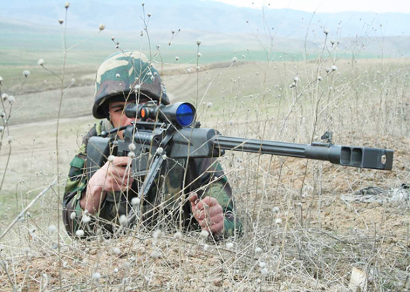 An Armenian soldier on the front lines